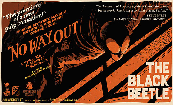 Follow Francesco Francavilla's critically acclaimed pulp hero as he searches island prisons, dank sewers, and swanky nightclubs for the mysterious man known as Labyrinto.