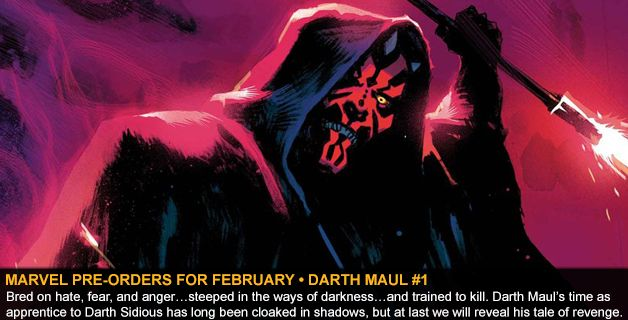 MARVEL COMICS PRE-ORDERS FOR FEBRUARY • DARTH MAUL #1